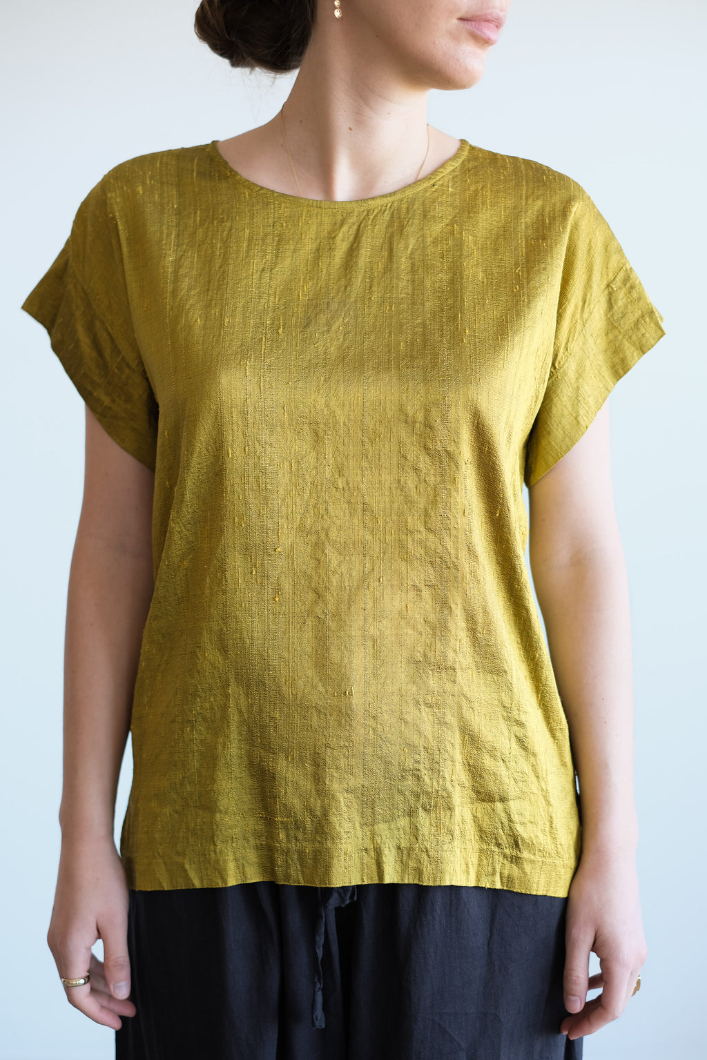 CHARTREUSE RAW SILK TOP