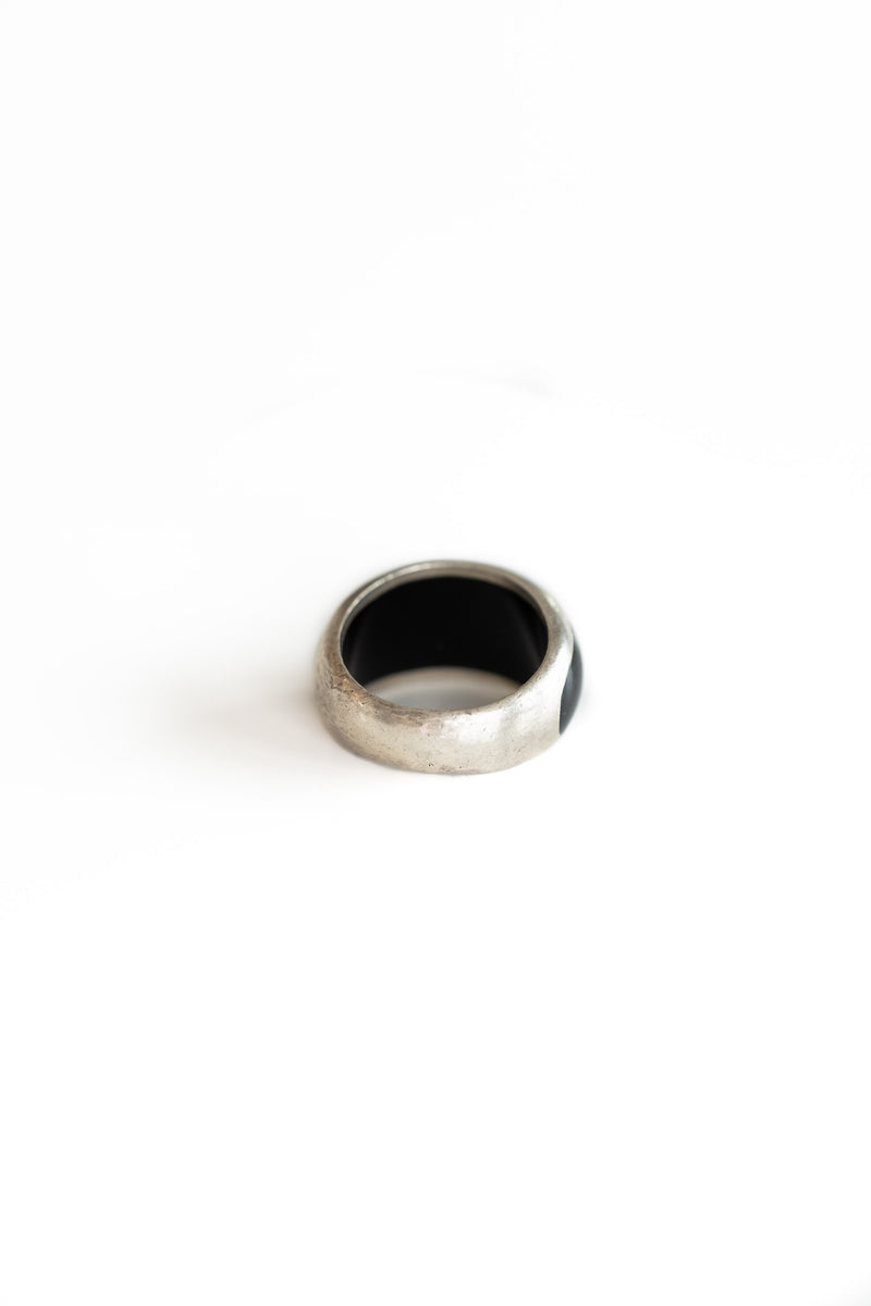 CHUNKY SILVER + ONYX  RING