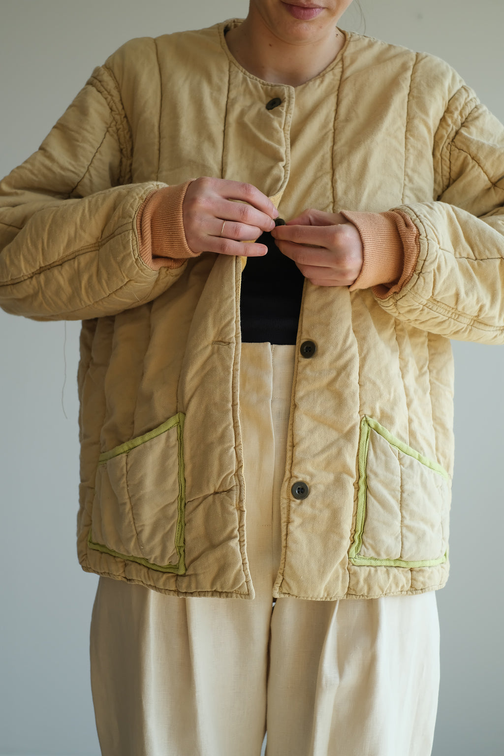 CREAM QUILTED COTTON JACKET
