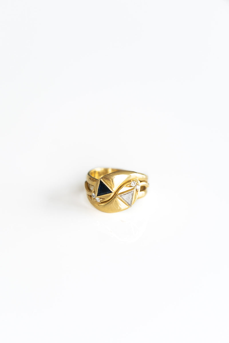 DOUBLE SNAKE RING WITH DIAMOND + SAPPHIRES