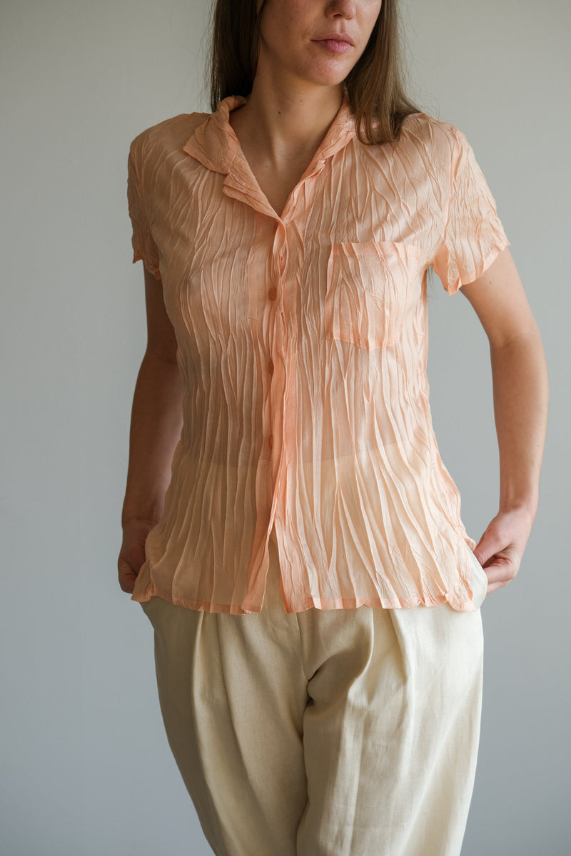 PEACH PLEATED SHIRT
