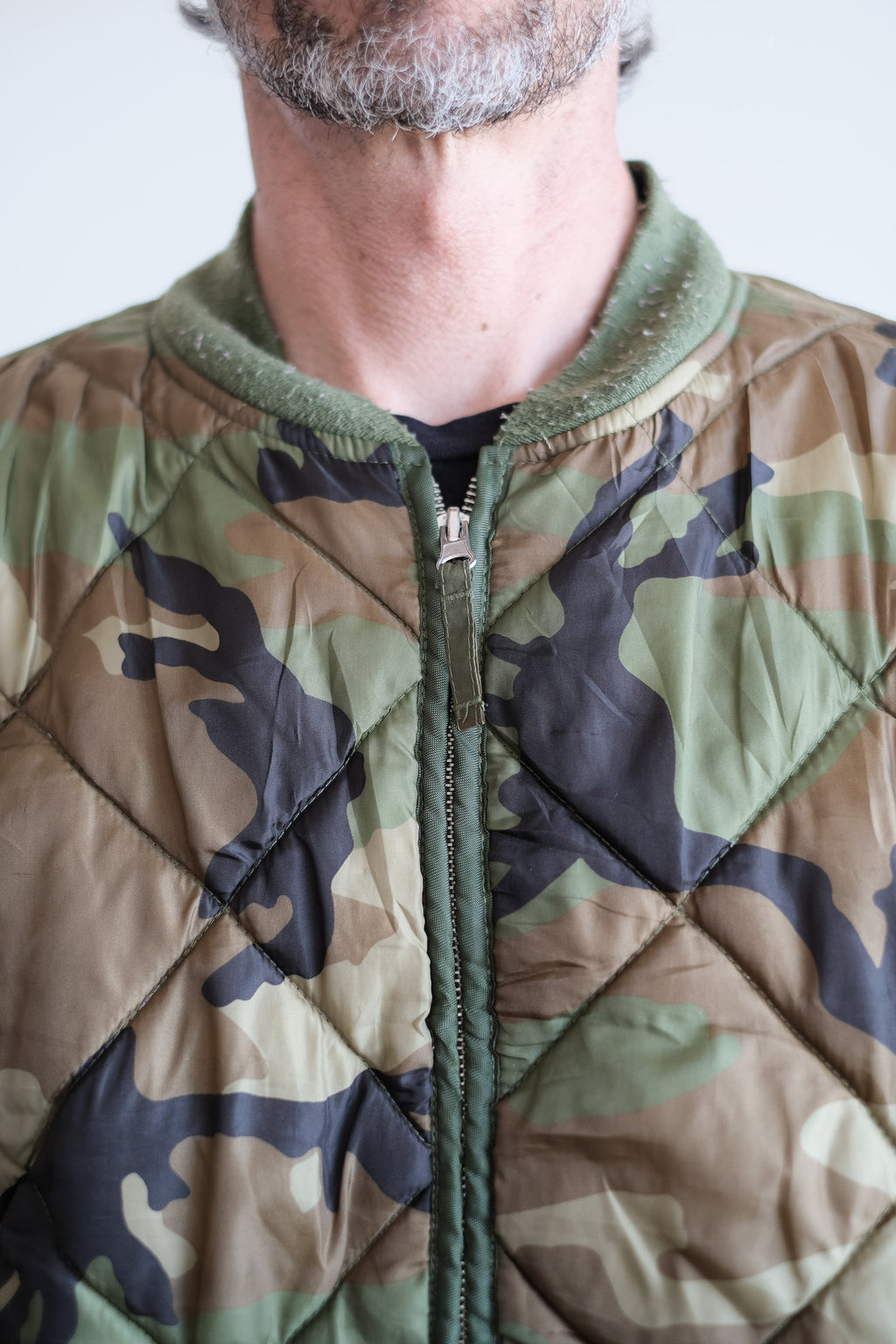 QUILTED CAMO BOMBER JACKET