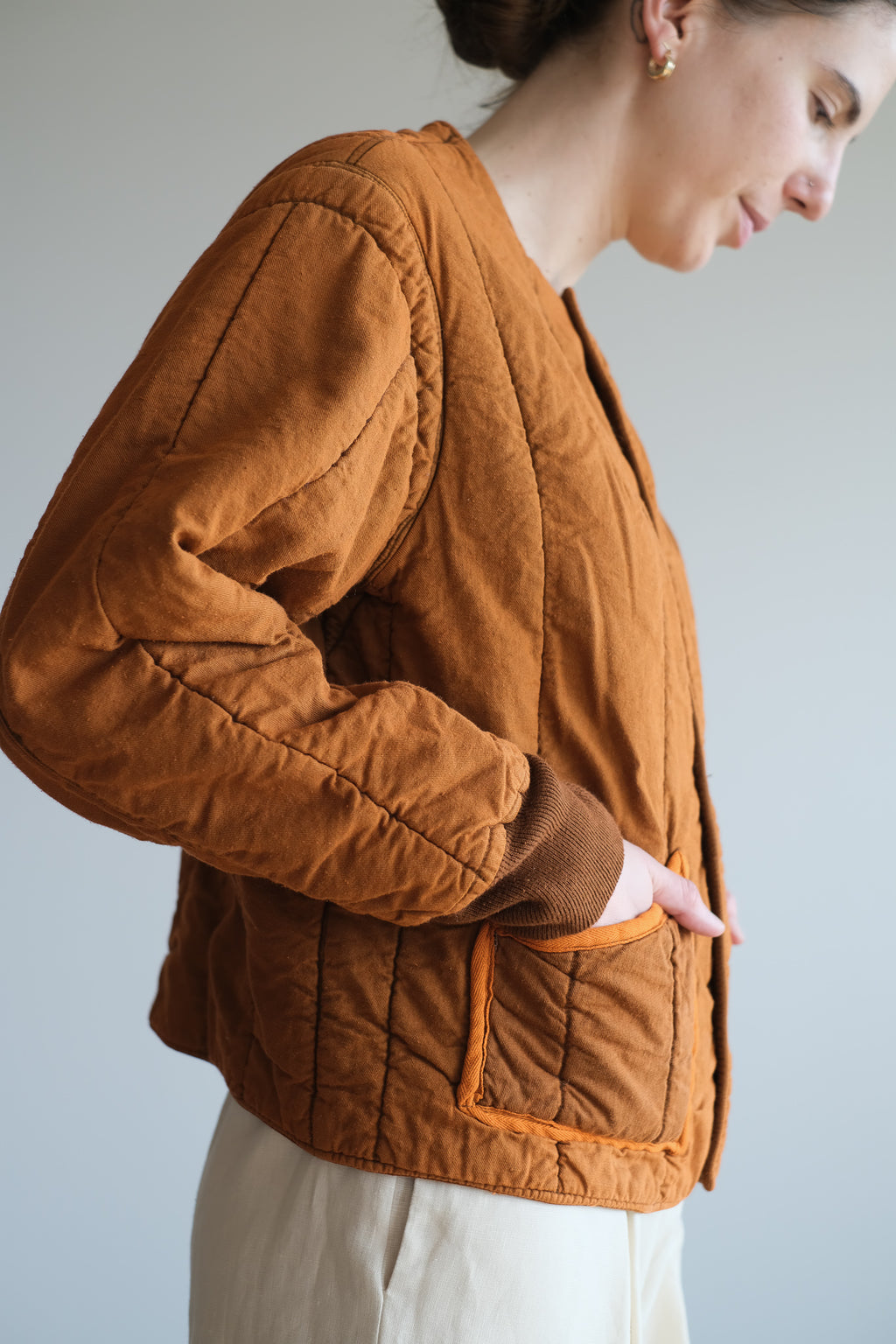 RUST QUILTED COTTON JACKET