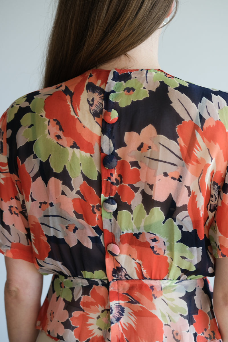 1940's SHEER FLORAL BLOUSE