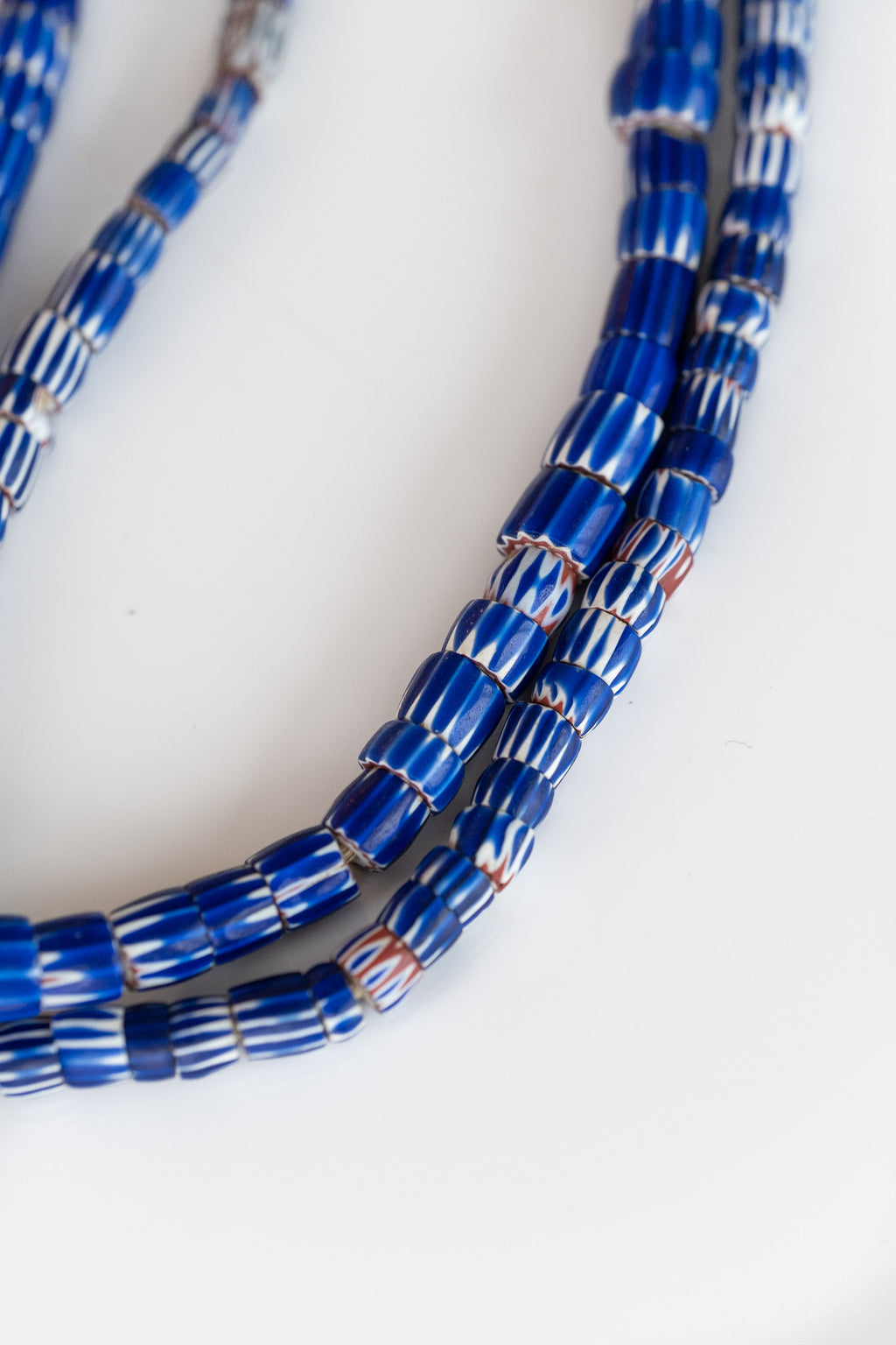 ANTIQUE BLUE STRIPED AFRICAN BEADS