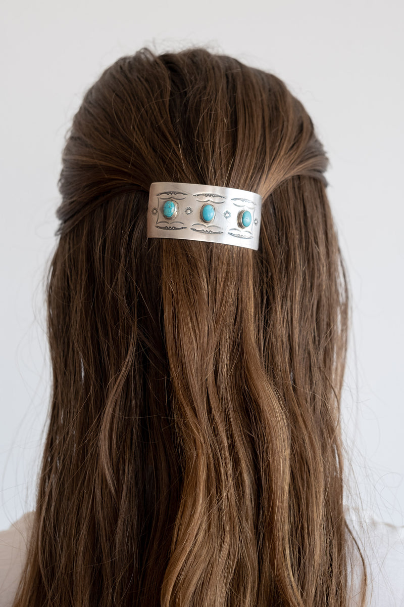 STERLING + TURQUOISE HAIR CLIP