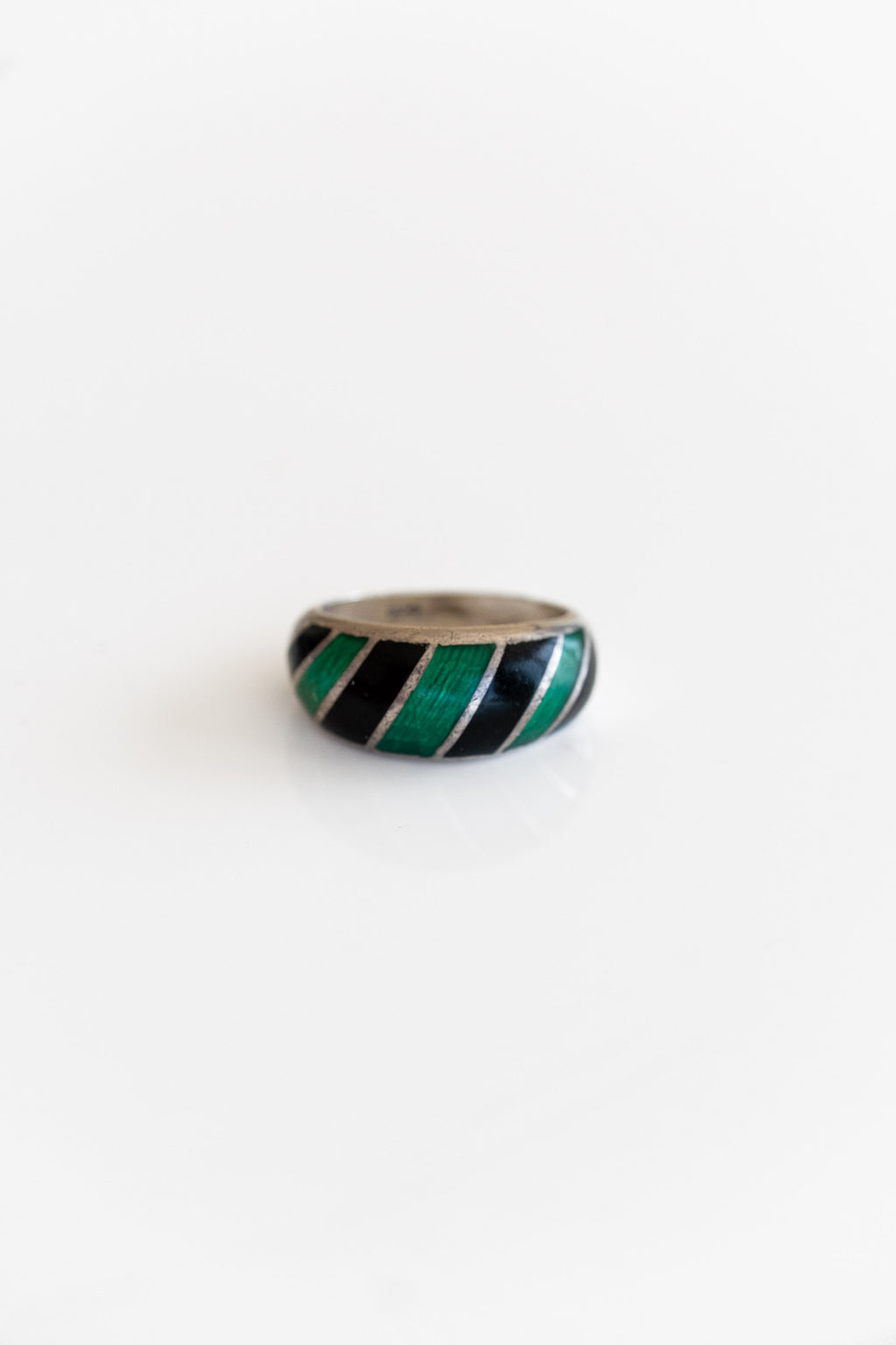 SILVER ENAMEL STRIPE RING