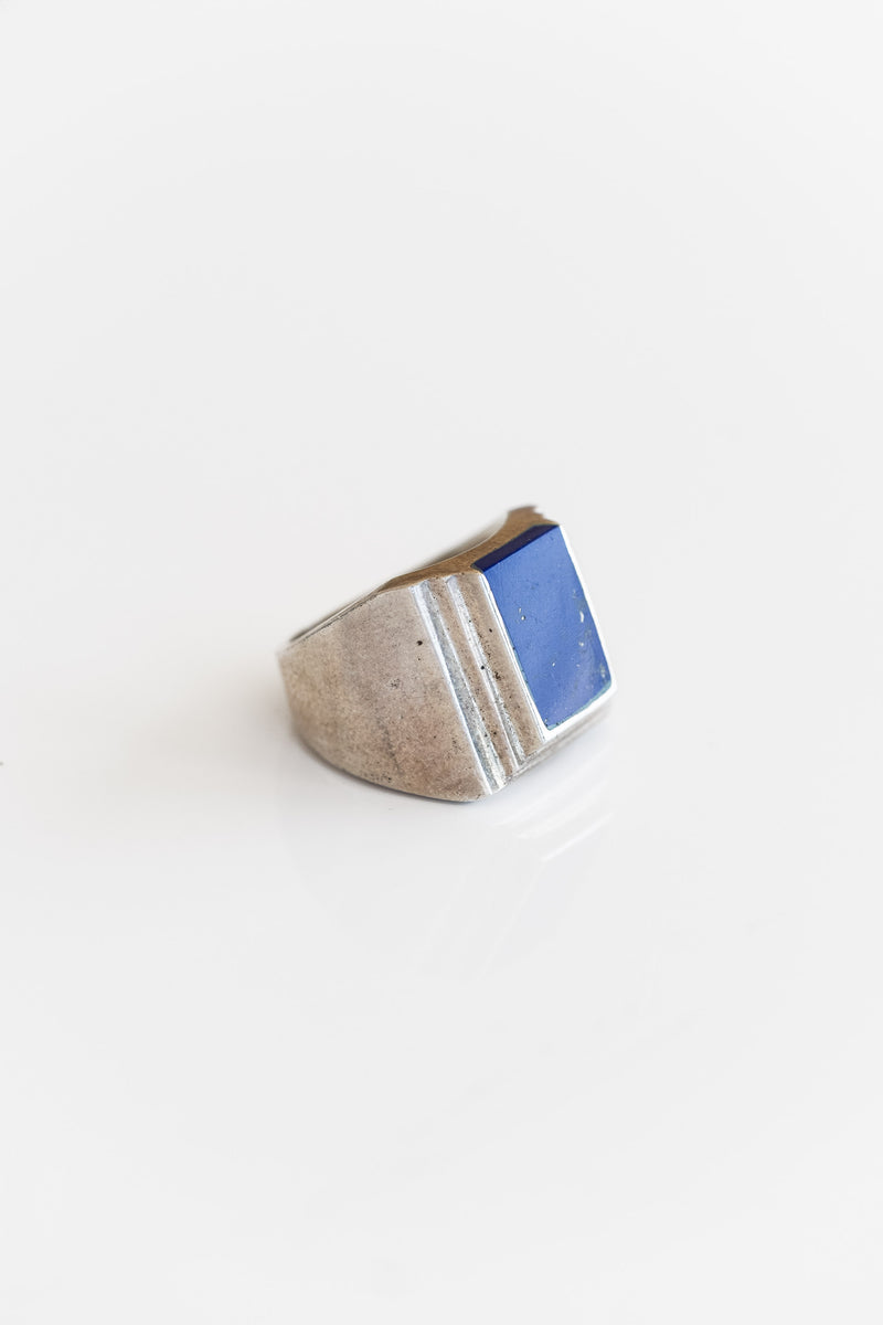 SILVER + LAPIS RECTANGLE RING
