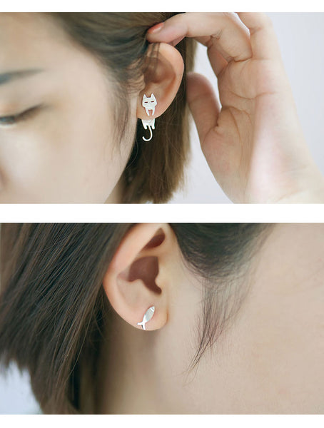 Cat Fish Stud Earrings | Sterling Silver