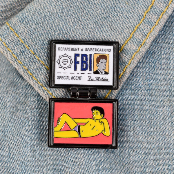 Fox Mulder Brooch Pin | Simpsons X-Files