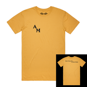 'TAKE IT EASY FOR A LITTLE WHILE' MUSTARD T-SHIRT - LIMITED EDITION