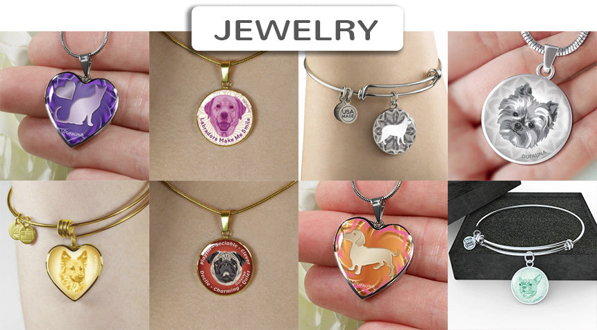 A selection of DuFauna jewelry, with a link to all DuFauna pet types and breeds categories of jewelry
