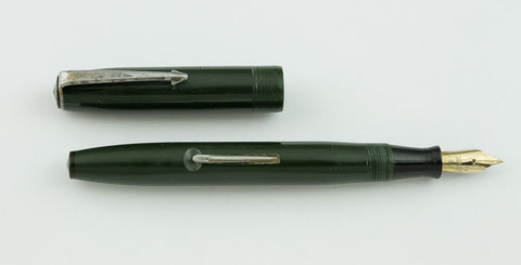 Newark Pen Co., Secretary Lever Filler Fountain Pen, Green w/Chrome Plated Trim - VP4616