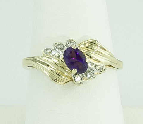 Jewelry, Ring, Gold, Amethyst & Diamond