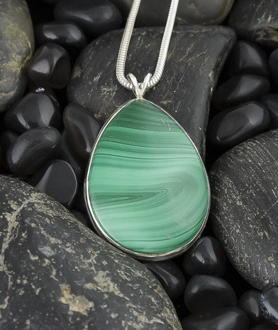 Jewelry, Pendant, Sterling Silver & Malachite