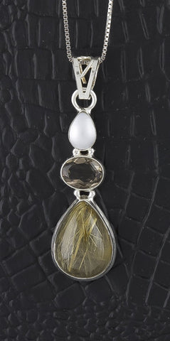 Pendant, Sterling Silver & Rutilated Quartz, Smoky Quartz & Pearl