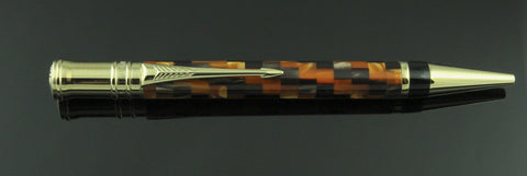 Parker, Duofold Ballpoint Pen, Amber Check w/Gold Plated Trim