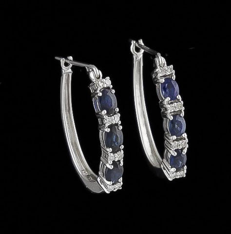 Earrings, Sapphire and Diamond