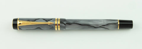 Parker, Duofold International Rollerball Pen, Black & Grey Pearl w/Gold Plated Trim