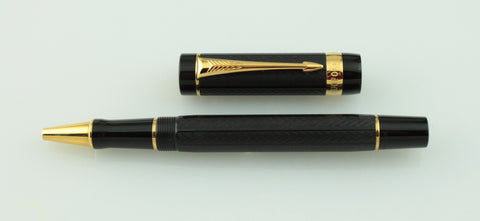 Parker, Duofold Greenwich Special Edition Rollerball Pen, Black w/Gold Plated Trim