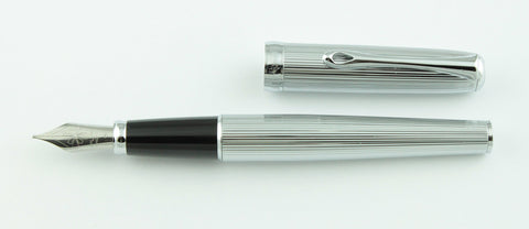 Diplomat, Excellence Fountain Pen, Guilloch Stripes w/Chrome Plated Trim