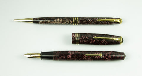 Conway Stewart, 58 Fountain Pen & Pencil Set, Purple Mosaic w/Goldfill Trim - VP 4576