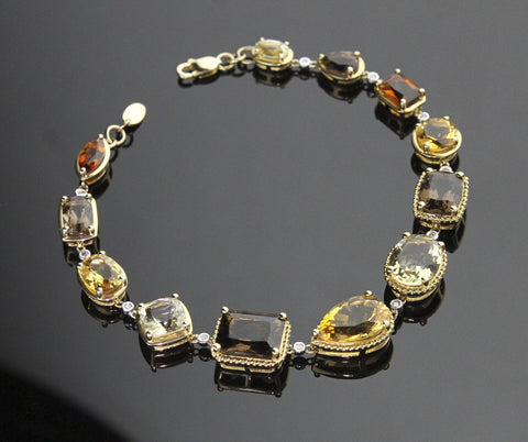 Bracelet, Citrine & Smoky Quartz