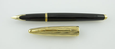 Waterman, Carene Deluxe Fountain Pen, Black w/Gold Plated Cap
