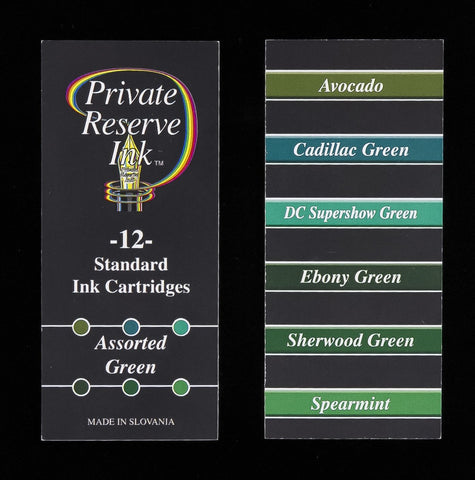 Private Reserve Ink - Assorted Green Ink Cartridges 12 Pack