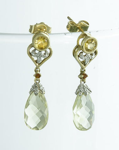 Jewelry, Earrings, Prehnite (Green Quartz), Citrine & Sapphire