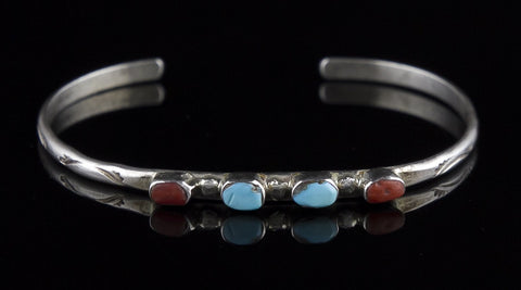 Jewelry, Bracelet, Sterling Silver, Turquoise & Coral (Native American)