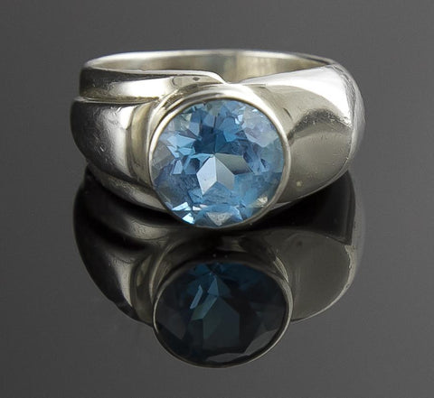 Jewelry, Ring, Sterling Silver & Topaz