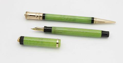 Parker, Pastel Ring Top Fountain Pen & Pencil Set, Apple Green Moire w/Gold Fill Trim - VP4955