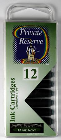 Private Reserve Ink - Ebony Green Ink Cartridges 12 Pack