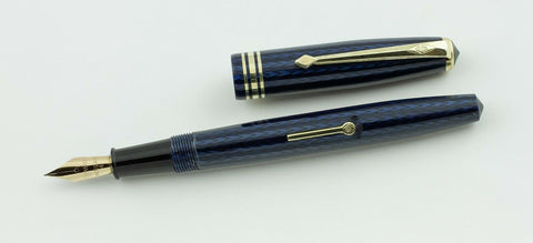 Conway Stewart, 93 Fountain Pen, Navy Blue & Black w/Gold Fill Trim - VP4782