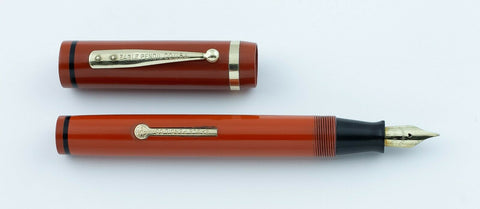 Eagle Pencil Co., Flat Top Fountain Pen, Orange & Black w/Gold Fill Trim - VP4794
