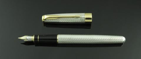 Parker, Fougere Fountain Pen, Sterling Silver w/Gold Plated Trim