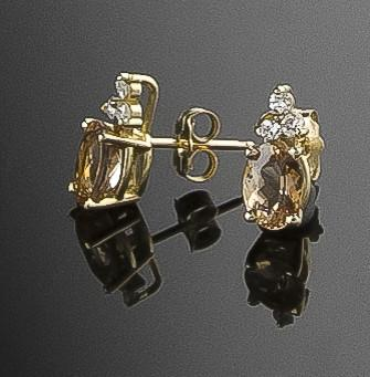 Earrings, Topaz (Imperial) & Diamond