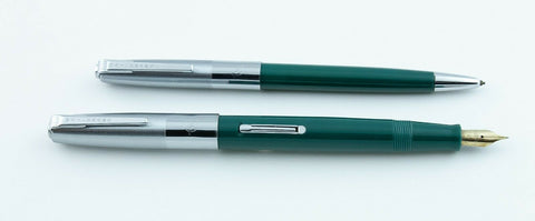 Waterman, Leader Fountain Pen & Pencil Set, Green w/Chrome Plated Cap & Trim - VP4783