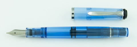 Pelikan, M205 Demo Fountain Pen, Transparent Blue w/Chrome Plated Trim
