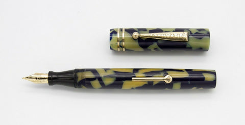Diamond PP, Flat Top Fountain Pen, Cream & Blue w/Gold Fill Trim - VP4879