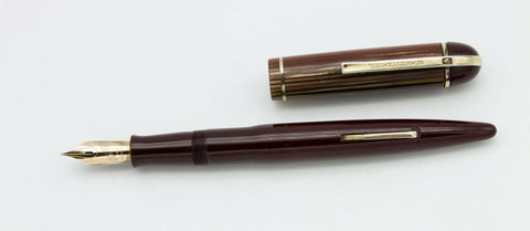 Wahl-Eversharp, Skyline Standard Fountain Pen, Burgundy w/Striped Cap & Gold Fill Trim - VP4916