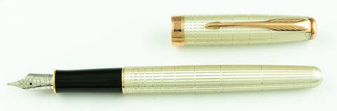 Parker, Sonnet Fountain Pen, Silver Plated w/Rose Gold Plated Trim