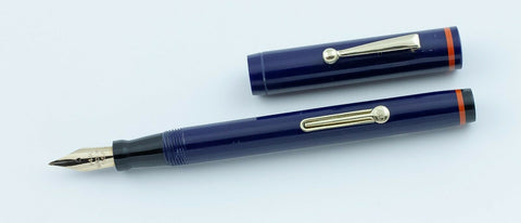 Unbranded, Flat Top Fountain Pen, Navy Blue & Orange w/Gold Fill Trim - VP4793