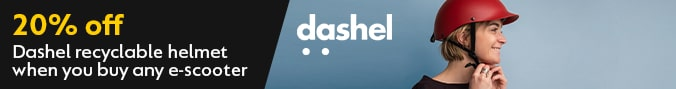 20% off dashel recyclable helmet when you buy any e-scooter