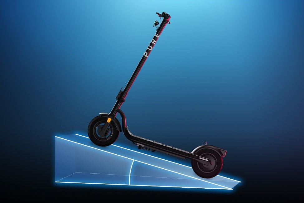 Hill climbing scooter graphic in e-scooter buying guide