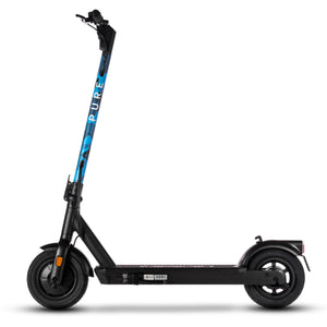 pure air pro electric scooter with blue camo stem wrap
