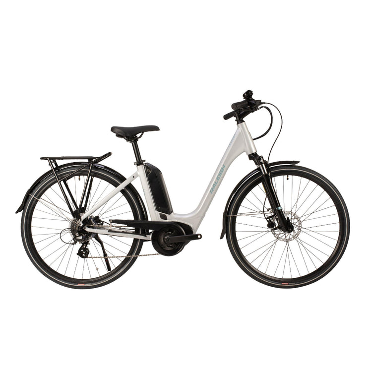 raleigh motus lowstep 2020 electric hybrid bike silver
