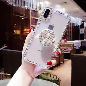 Luxury Airbag Handle Bracket Rhinestones Diamond Glitter Case For iPhone