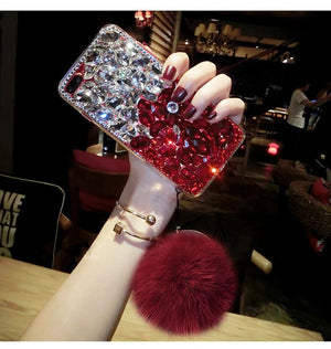 Diamond Gradient Color Plush Ball Phone Case for iPhone